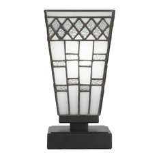 "Accent Table Lamp In Matte Black Finish /W 5"" Square Pewter Art Gls (52-MB-9104)"