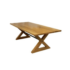 Rustic Farmer Dining Table With X Joint Legs And Twisted Steel Bar Walnut