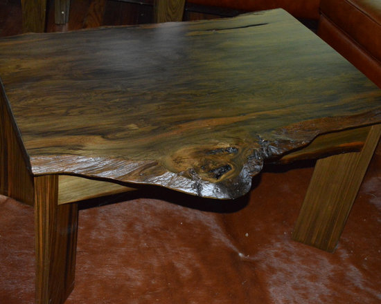 sinker cypress coffee table with live edge