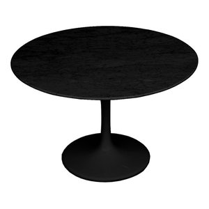 "Fine Mod Imports Flower Marble Table 32"", Black, 32"""