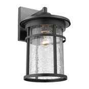 CHLOE Lighting FINLEY 1-Light Textured Black Outdoor Wall Sconce 14""