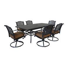 Carlsbad 7-Piece Rectangular Dining Set With 6 Swivel Rockers, Dark Lava Bronze