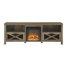 70-inch Rustic Farmhouse Fireplace TV Stand - Reclaimed Barnwood