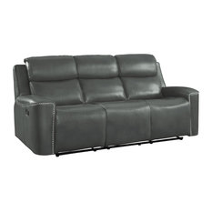 Acadia Double Reclining Sofa, Gray Leather Gel Match