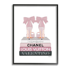 Elegant Pink Bow Heels on Fashion Brand Books16x20