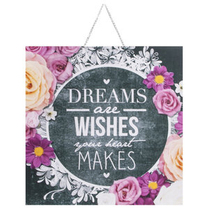 """Dreams and Wishes"" Chalkboard Printed Canvas, 40 x 40cm"