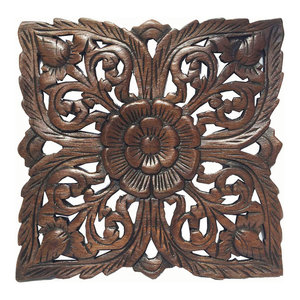 Carved Wood Wall PlaqueRustic Wood Wall Decor Asian Wall Art Decor Panel 12