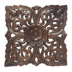 Carved Wood Wall PlaqueRustic Wood Wall Decor Asian Wall Art Decor Panel 12""