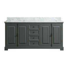 Sutton Gray Bathroom Vanity With Marble Top, 72''