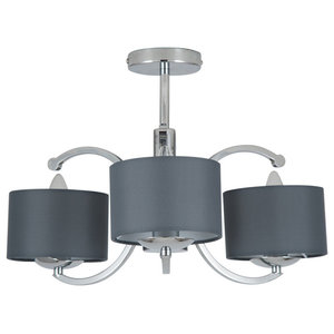 Arcadia 3-Light Ceiling Light, Polished Chrome