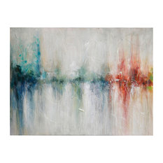"""Gray and Multi-Color Hand Painted Canvas, 40""""x30"""""""