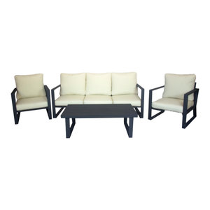 Outdoor 4-Piece Bolonia Furniture Set With 3-Seater Sofa, Anthracite
