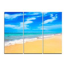 """Blue Sandy Tropical Sea Beach"" Art Canvas, 3 Panels, 36""x28"""