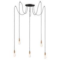 Early Electric Five Light Pendant Black/Antique Brass