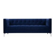 Navy Blue Velvet Tufted Tuxedo Sofa With Mirror Silver Legs
