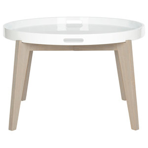 Safavieh Emily Lacquer End Table, White and Grey