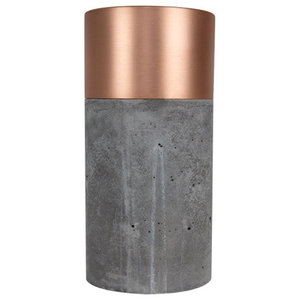 Brushed Copper and Concrete Vase, Dark Concrete