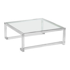 Ava Grand Modern Acrylic Square Coffee Table   Coffee Tables