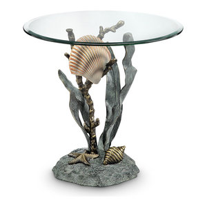 SPI Aluminum Shells and Seagrass End Table