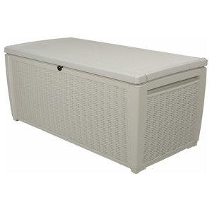 Contemporary Storage Box, White Plastic With Organiser, Elegant Texture Design