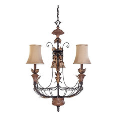 Nuvo 3-Light Gilded Cage Chandelier With Maple Wood Shades