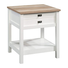 Night Stand Drawer and Open Shelf Soft White Body and Lintel Oak Top by eFurnish