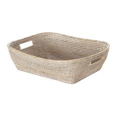 La Jolla  Handwoven Oblong Rattan Storage and Shelf Basket, White-Wash