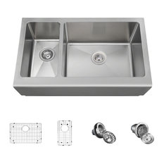 Offset Stainless Steel Apron Sink, Wide Right, Ensemble