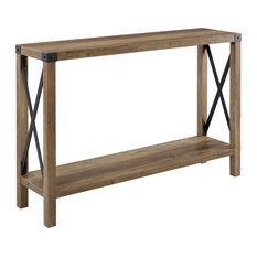 """46"""" Urban Industrial Metal """"X"""" Entry Table, Rustic Oak"""