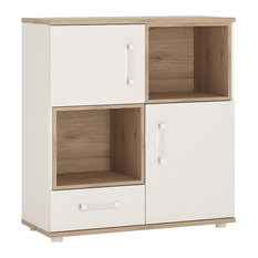 2-Door 1-Drawer Cupboard With 2 Open Shelves With Opalino Handles