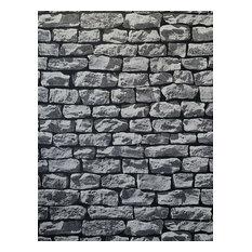 Charcoal gray black 3D Textured Brick Stone Wallpaper , 21 Inc X 33 Ft Roll