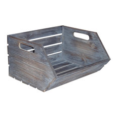 Cheungs - Wood Slat Stackable Storage With Side Handles, Gray Wash - Storage Bins and Boxes