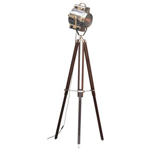 Kardashian Handmade Tripod Brown Frosted Glass and Nickel Floor Lamp