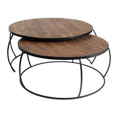 Mercana Clapp I Set Of 2 41-inch & 38-inch Brown Wood Top Nesting Coffee Tables