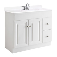 "Wyndham Unassembled 2-Door 2-Drawer Vanity Without Top, 36"", White"