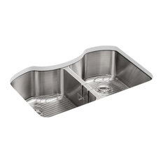 """Kohler Octave 32"""" X 20-1/4"""" X 9-5/16"""" Double-Equal Stainless Steel Kitchen Sink"""
