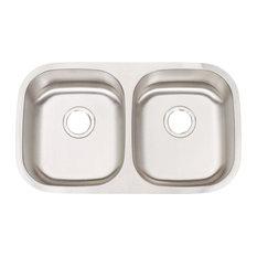 Manhattan Undermount Stainless Steel 30x17-3/4x8 0-Hole Double Bowl Kitchen Sink