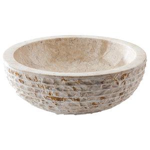 Merapi Marble Vessel Sink, White, 40x15 cm