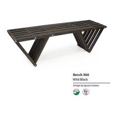 """GloDea Garden Bench, 54"""", Wild Black"""