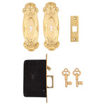 Charleston Hardware Co. - Avalon Keyed Single Pocket Door Set, Unlacquered Brass - Sold as a set: 2 Handles, Single Pocket Door Lock, Strike Plate and Keys.  2-3/4in x 8-3/8in handles, 0in recess, centered key hole; 15/16in x 7in lock face, 3-1/4in x 5-1/4in x 3/4in body, 15/16in x 1-7/8in retractable handle, 2in distance from face to key hole.