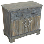 Glendora Acacia Wood Storage Cabinet, Natural Stain - Rustic - Storage Cabinets - by GDFStudio