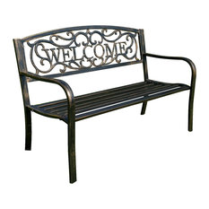 belleze outdoor garden bench welcome chair seat bronze outdoor benches