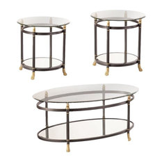 Allesandro 3 Piece Oval Glass Coffee Table and Set of 2 End Table