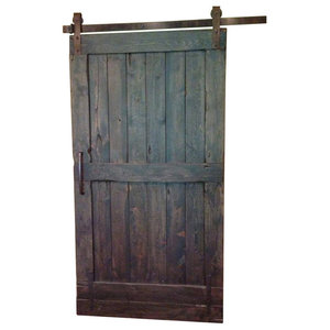 "Rustic Sliding Barn Door, Dark Walnut, 90""x46"""