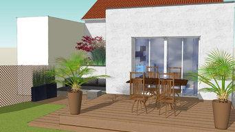 Etude d'une extension de maison de style contemporain