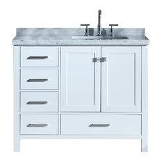 "Cambridge 43"" Bath Vanity, White With Marble Top, Carrara White/White Basin"