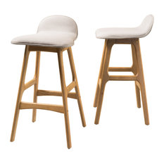 GDFStudio   Tolle Low Back Bar Chairs, Set Of 2, Beige   Bar