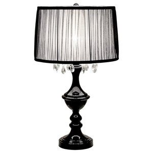 High Gloss Black Table Lamp with Shade
