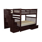 Bedz King Bunk Beds Full over Full Stairway, 4 Step & 2 Bed Drawers, Cappuccino