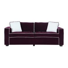 Divano Roma Furniture   Modern Two Tone Colorful Velvet Fabric Living Room  Sofa, Purple